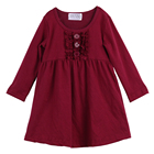2017 long sleeves kids button ruffles dress wholesale children clothes wine girl dress