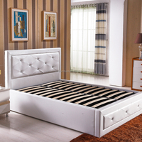 Luxury Bedroom Furniture White Leather Lift Up Storage Bed with Crystals