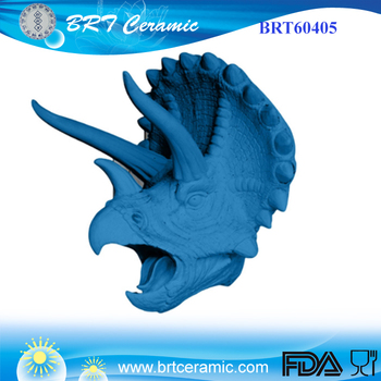 Wall Mount In Blue Resin Triceratops Dinosaur Head