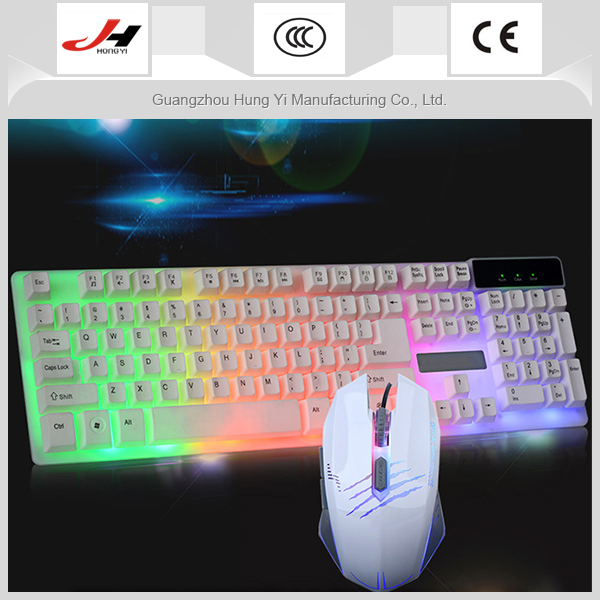 Color Backlit Computer Keyboard Suit Wired game Mouse Kit Mechanical keyboard feel