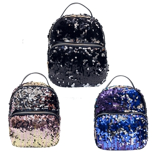 Popular fashion beauty PU and sequins girl school bag backpack