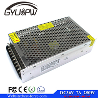 Single Output Uninterruptible Adjustable 36v 250w Switching power supply unit 110v 220v ac to dc smps for LED Strip light cnc