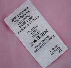 polyester satin woven edge printing label for garment