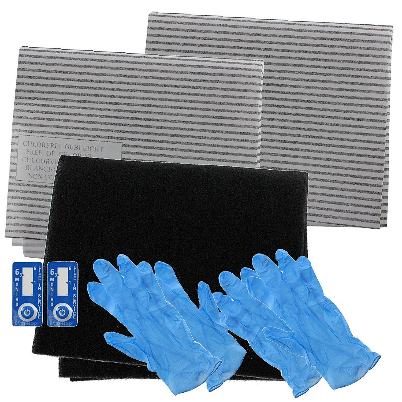 SPARES2GO Cooker Hood Carbon Grease Filter Kit for Logik Kitchen Extractor Fan Vent