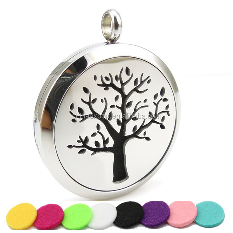 Stainless steel tree aroma locket surgical grade diffuser pendants
