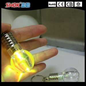 Creative flashing colorful LED light mini bulb pendant keychain