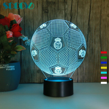 SC3D - 018 Real Madrid Football 3D Illusion LED Soccer USB Lamp Night Light 7 Color Changing Custom Soccer Fans Gifts