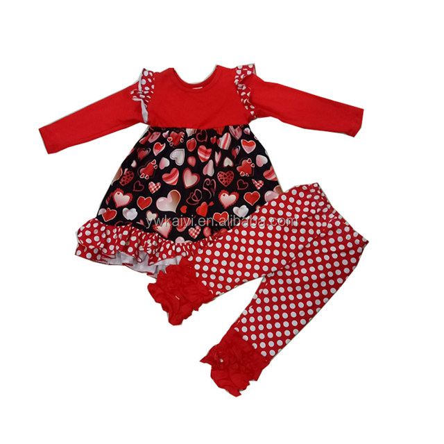 85b033f54 Children Clothing Clothes Designing Ruffle Raglan Red Heart Baby Girl  Boutique Clothing Sets For Valentines Day