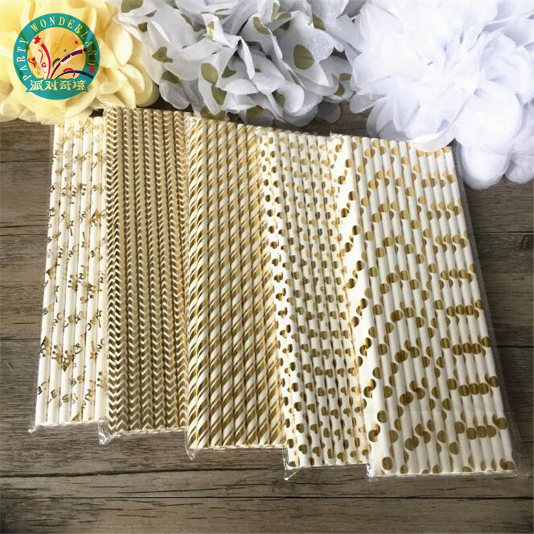 Best selling pink gold striped mixed kids birthday wedding decorative party decoration event supplies drinking paper straws
