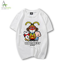 Hiphop style men full size fashion cotton good quality animal digital printed cheap t shirt with wholesale price