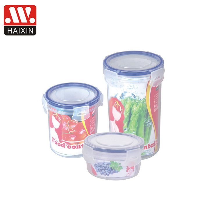 250ml 500Mml 750ml Warehouse  round  kitchen food container acrylic plastic storage box