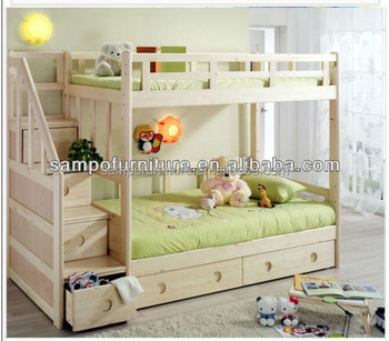 Twin Over Wood Staircase Bunk Bed With Storage