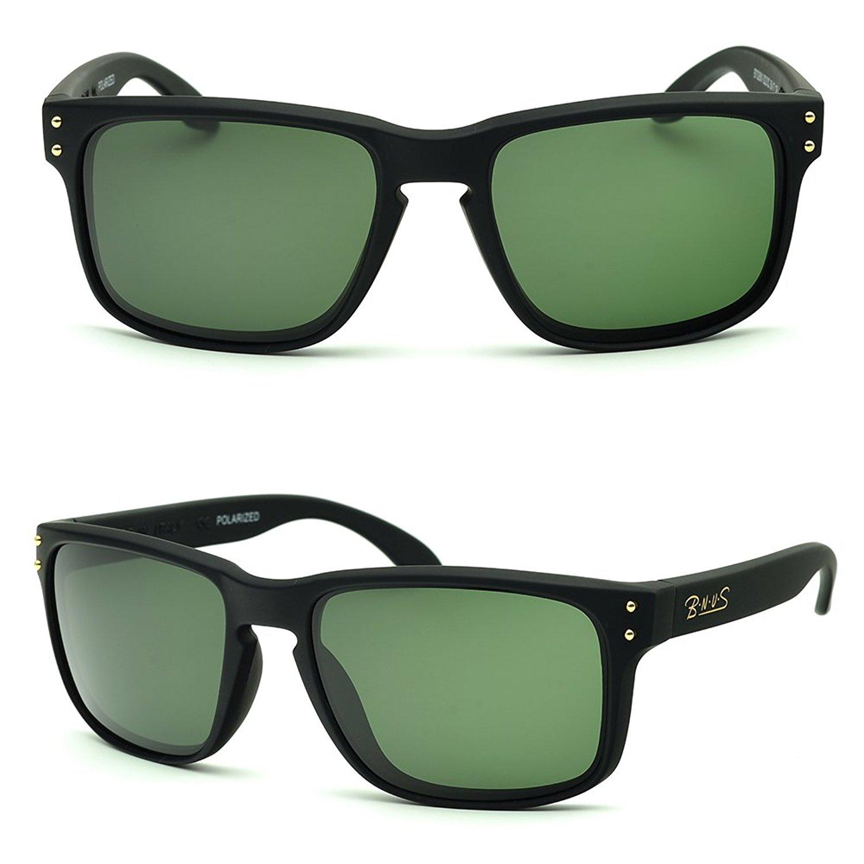 f2d91778d4b Get Quotations · BNUS sunglasses for men work polarized glass lenses green  (Frame  Matte Black