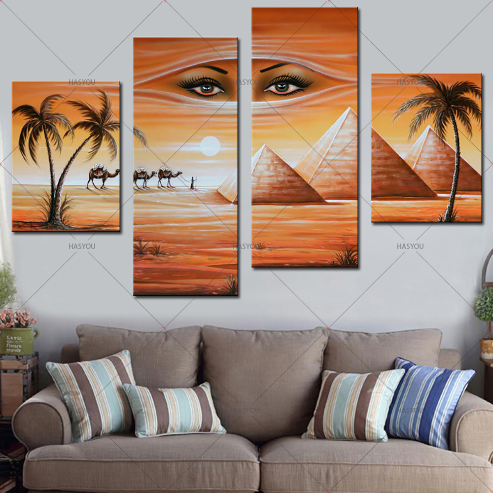 Fantasy-Oil-Painting-Egyptian-Pyramids-Landscape-Hand-Painting-Calligraphy-on-Canvas-Wall-Pictures-4-Pieces-Pictures (2)