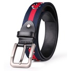 custom design colorful ceinture leather women pin buckle cotton belt