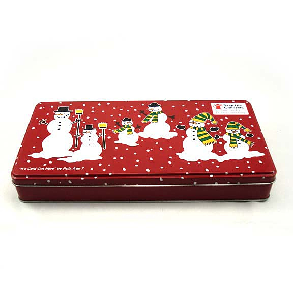 Red Rectangular Snowman Christmas Tin Box Chocolate Candy Tin Can