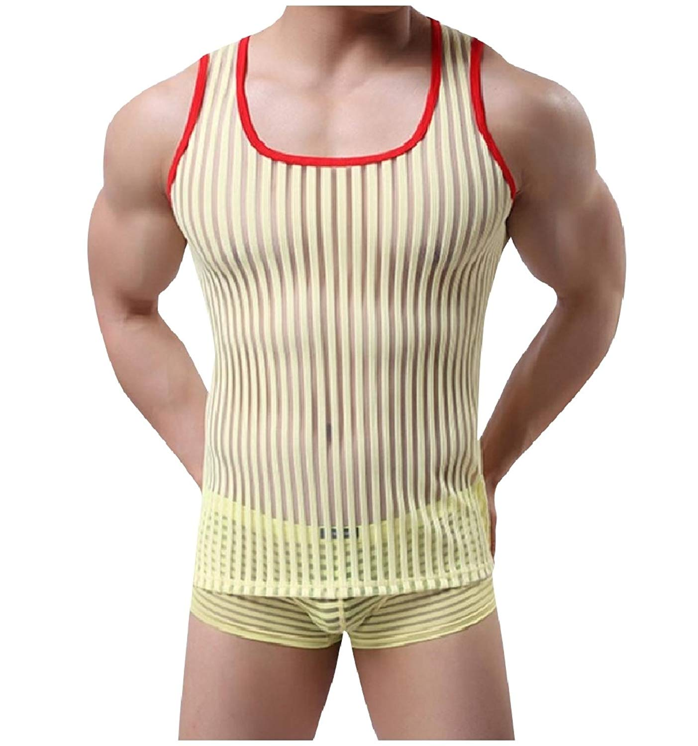 2898e932512044 Get Quotations · YUNY Mens Racerback Stripes Sheer Round Neck Tank Top  Sleeveless Tee