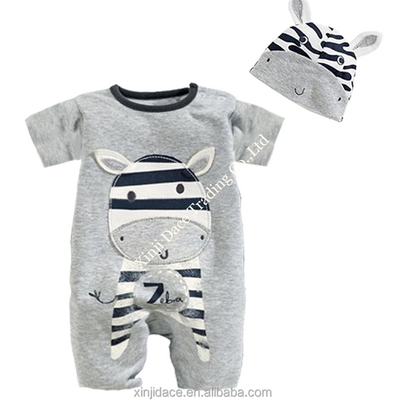Summer thin fabric printed short sleeve adult baby romper