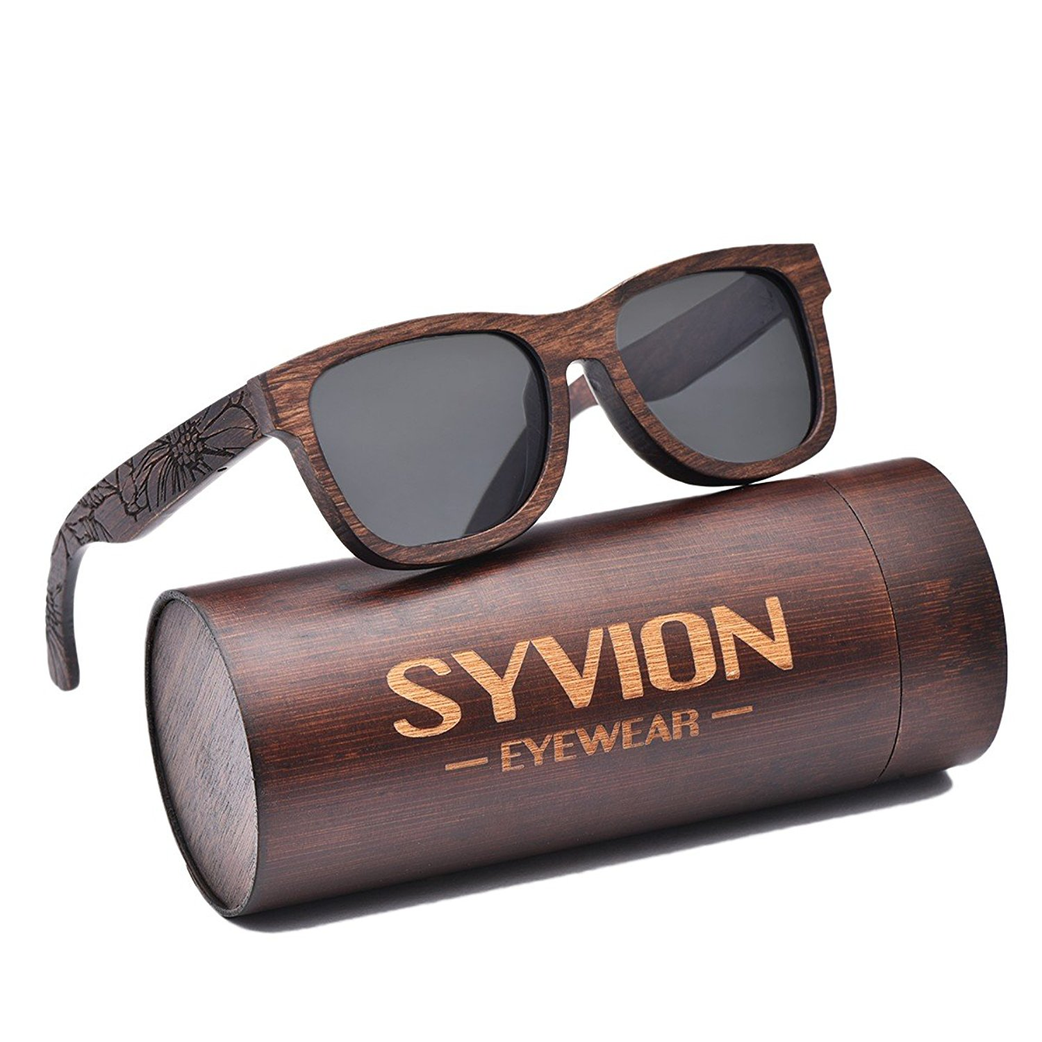 07379a9b39 Get Quotations · SYVION Polarized Pear Wood Sunglasses For Mens Womens With  Bamboo Case