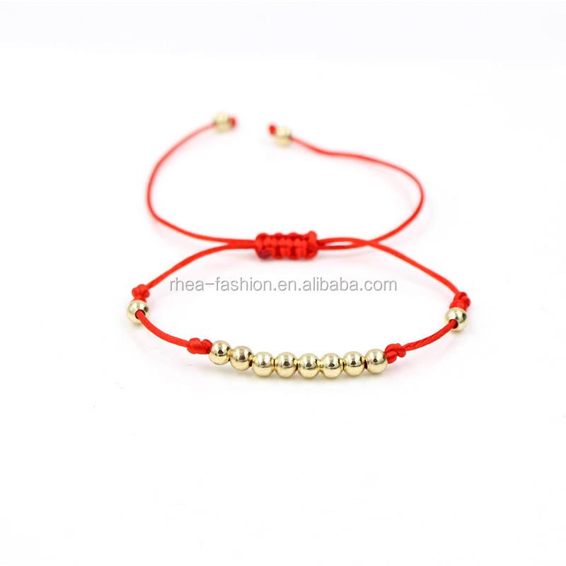 6f01f71f0ddb Moda 5mm cobre grano armadura encanto ajustable pulsera rojo cuerda de  pulsera para mujeres chica regalo