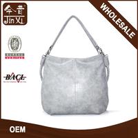 Fashion Soft Handle Silver PU leather shoulder messenger bag