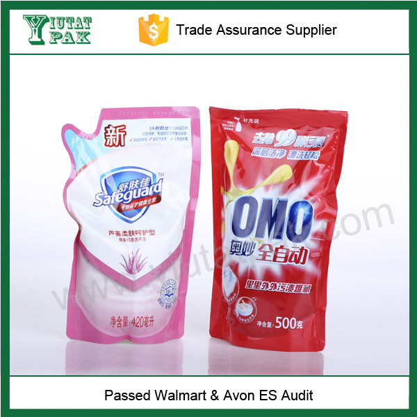 Customized stand up Laundry detergent plastic packaging bag