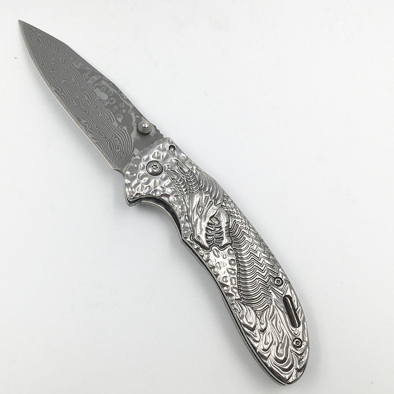 Buy SHOOTEY EDC Folding blade knife Damascus steel shell