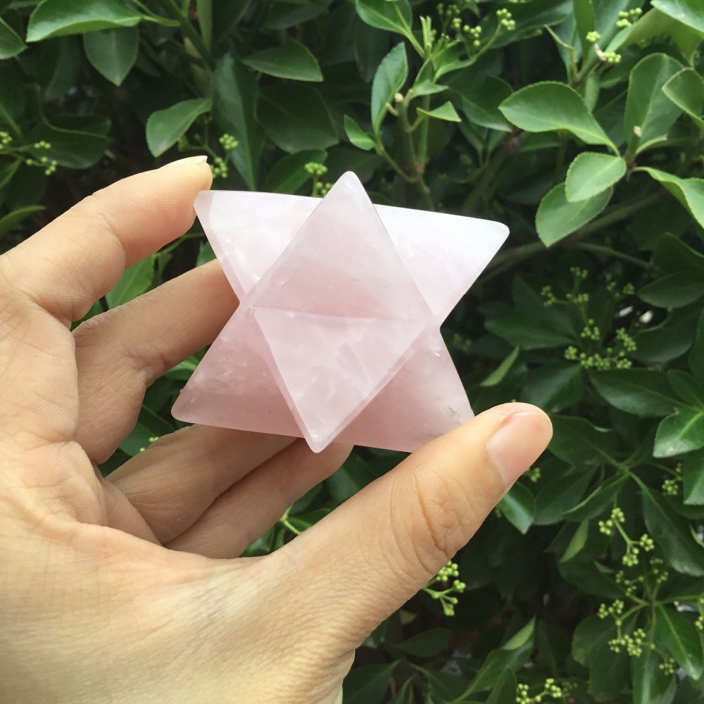 Atacado gemstone natural rose cristal de quartzo Merkaba para venda