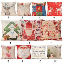 Pillow Case Christmas Series Pillow Case Xmas Ambience Decorative Square Pillow Case Cartoon Santa Alphabet  Home Bed Supplies