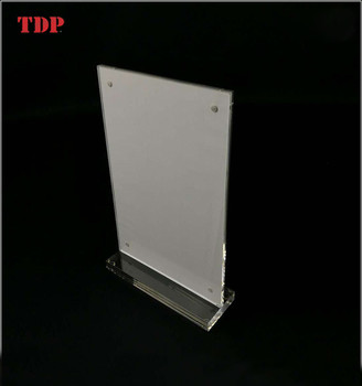 5x7 Wholesale Customize Clear Magnetic T Shape Photo Frame for Table Decoration