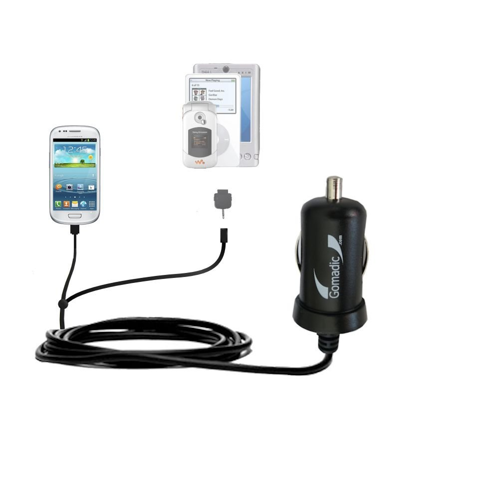Gomadic Dual DC Vehicle Auto Mini Charger designed for the Samsung Galaxy S III mini - Uses Gomadic TipExchange to charge multiple devices in your car