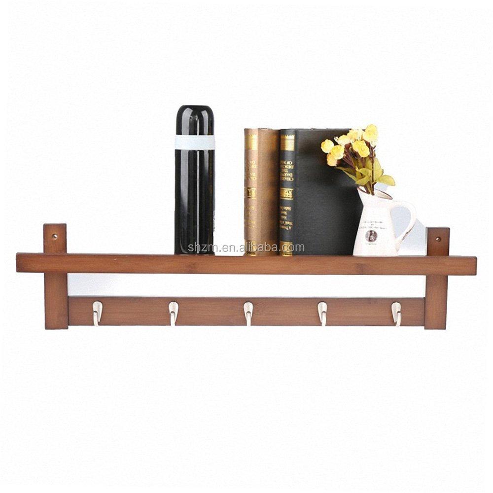 100% Bamboo Wall Shelf,Coat Hook Rack Unibody Construction With 5 ...