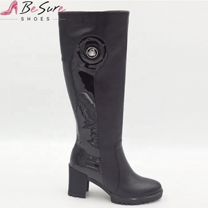 Wholesale China PU&Suede Shoe upper Rubber Sole High Quality Black Riding Boots Women 2019