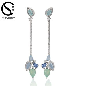 Best selling handmade cubic zircon earring fancy party bridal wedding silver long earrings