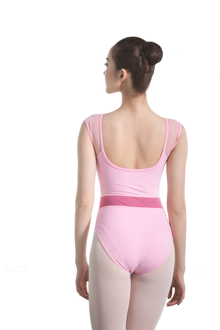 CLB1806 Black Mesh cap sleeve cotton thong competition leotard leotard dancewear