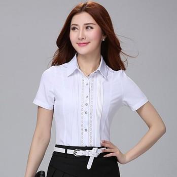 6ff56f537d190d D16594A 2015 de blusas para la Oficina damas de manga corta blanco blusas