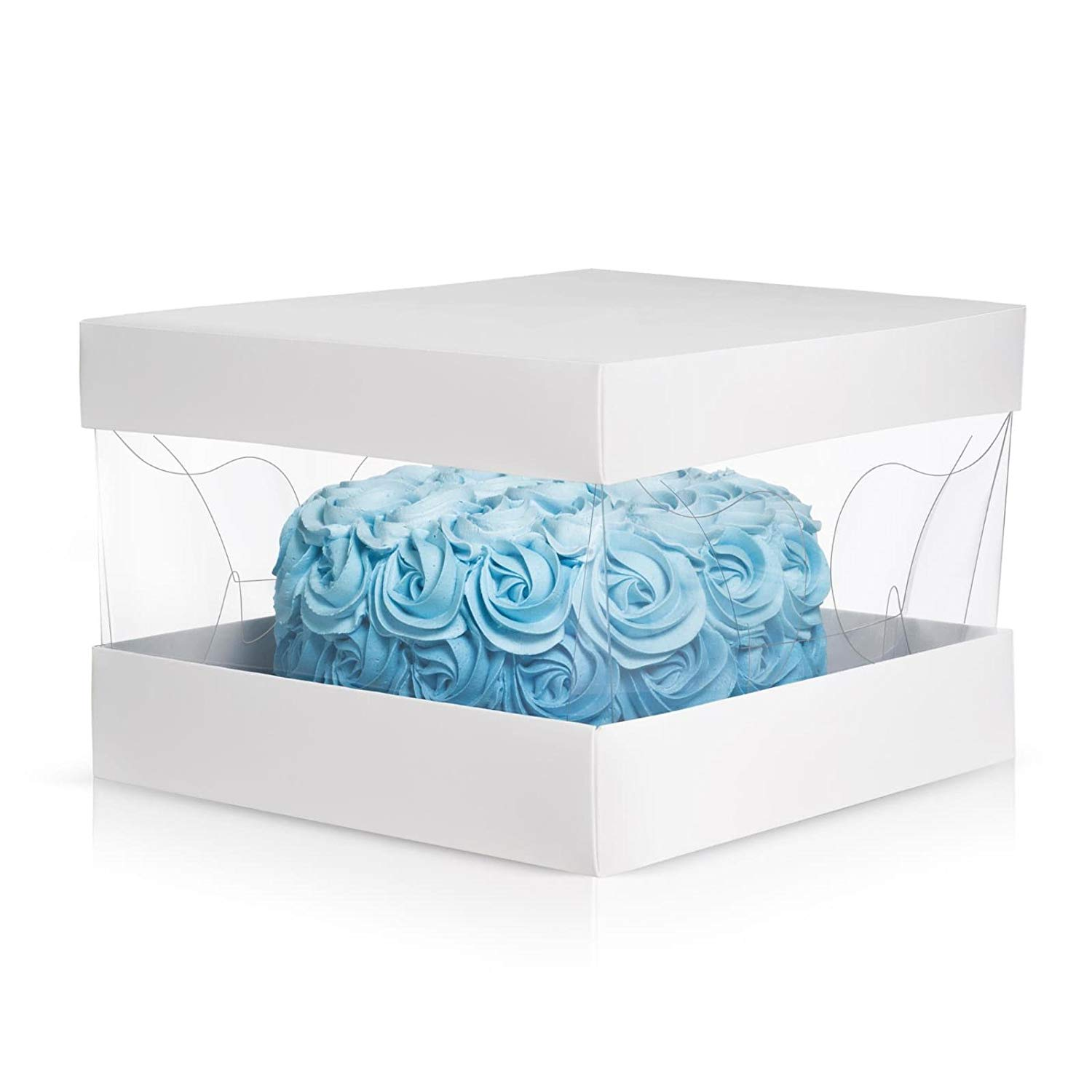 """Cake Box set Clear Top- Dream Pack- 10"""" 10"""" 8"""" – Ultra sturdy cake boxes, Carry and display cakes and baked goods for bakeries and home bakers – Fits tall layer and large cakes, Set of 10"""
