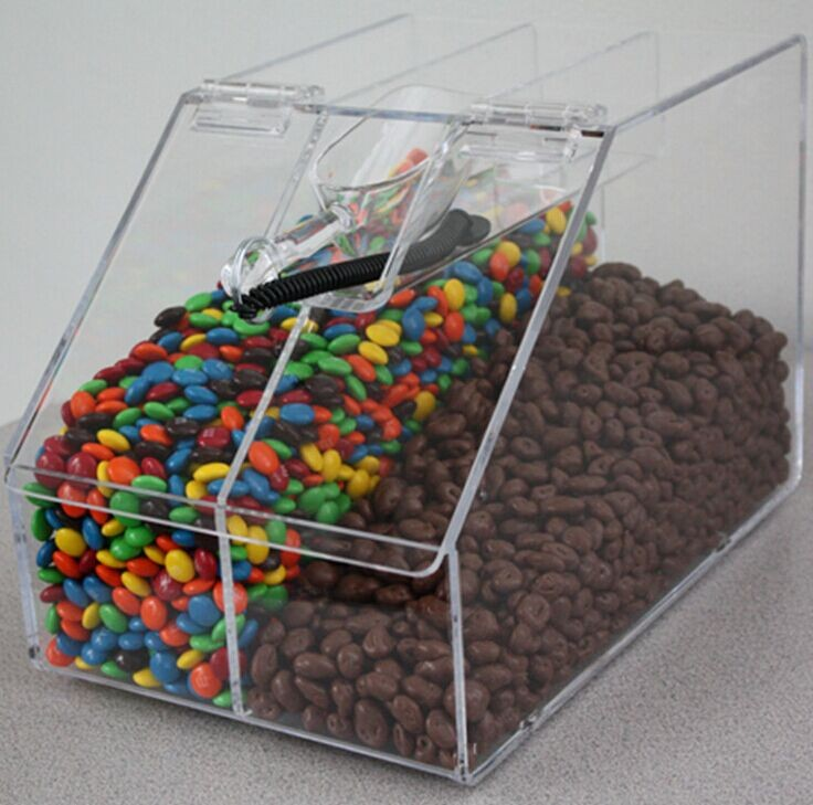 clear Two Grid Acrylic Candy Store box With Lid
