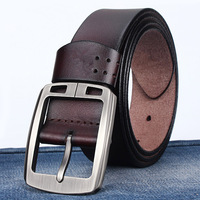 MOON BUNNY 100% Cowhide Genuine Leather Belts for Men BAIEKU Brand Strap Male Pin Vintage Jeans Cowboy Mens Belts Luury L