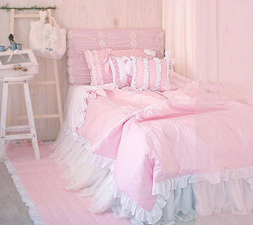 pink ruffle fairyfair bedding sets girl twin full queen cotton european royal bedclothes pillow. Black Bedroom Furniture Sets. Home Design Ideas