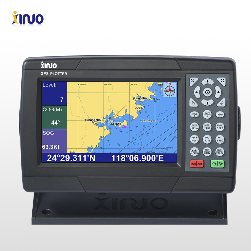Xinuo 7 inch marine gps chart plotter small ship navigation with c