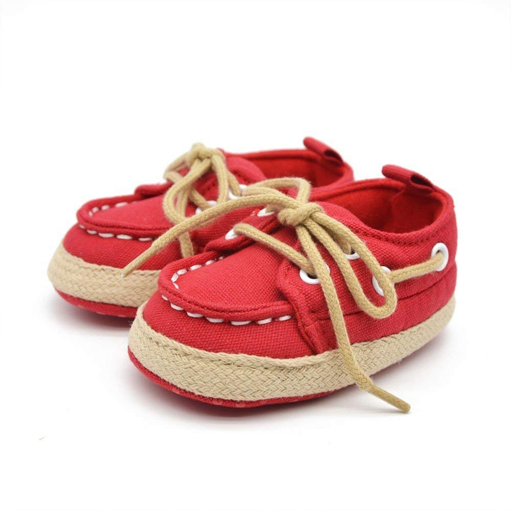 Jshuang Anti-Slip Denim Baby Infant Kid Boy Girl Soft Sole Sneaker Toddler Shoes,Baby Toddler Shoes,0~18 Month,Solid,Red (Red, 12)