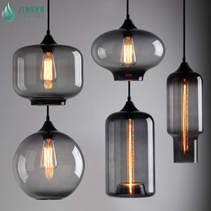 North America antique smoke grey round / cylinder / lantern shaped chandelier pendant glass light for warehouse