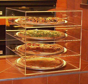 Transparent Acrylic Bakery Cake Display Case Box Clear 4-Tier Plexiglass Pizza Display Stand