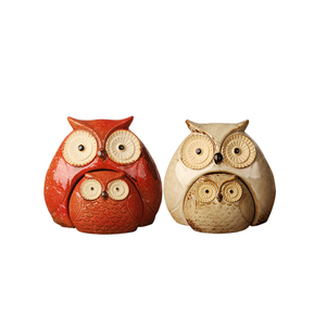 large and Small combination set Colorful glazed water Ceramic Owl Decoration home decoration