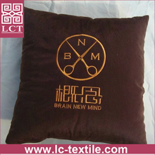 wholesale made of high grade polyester suede fabric throw pillow with custom designs embroideried(LCTP0054)