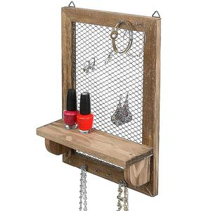 new products 8 Hook Wood and Metal Chicken Wire Wall Mounted Jewelry Display Organizer Rack with Shelf