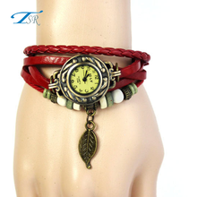 Bronze color Vintage leather bracelet watch with rose flower pendant and colorful diamond watch quartz wristwatches