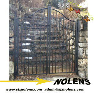 design of school gate/wrought iron fence/Forged Arched Garden Gate on alibaba online shopping