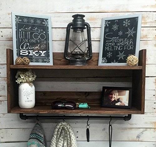 Coat rack with shelf, coat hooks with shelf, hat and coat rack, wall shelf, rustic wood shelf, wall hanging shelf, metal coat rack